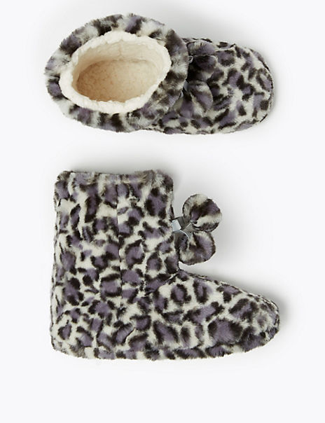 Kids' Faux Fur Leopard Print Slippers (13 Small - 6 Large)