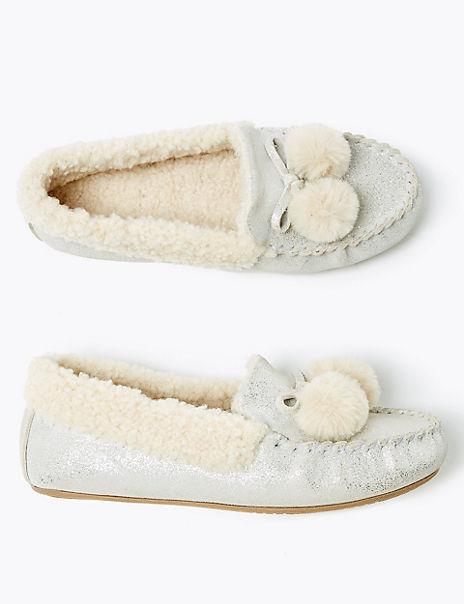 Kids' Freshfeet™ Suede Pom Pom Slippers (13 Small - 6 Large)