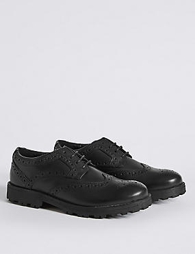 Kids' Leather Brogue School Shoes (13 Small - 8 Large)