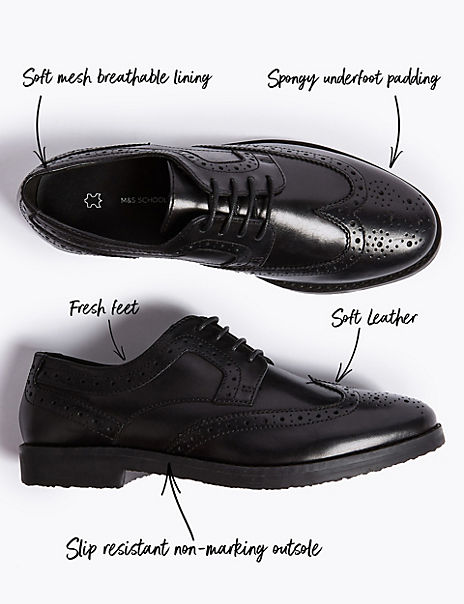 Kids' Leather Brogue School Shoes (13 Small - 9 Large)