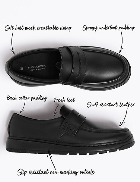 Kids' Light As Air™ Leather Slip On Loafers School shoes (13 Small - 9 Large)