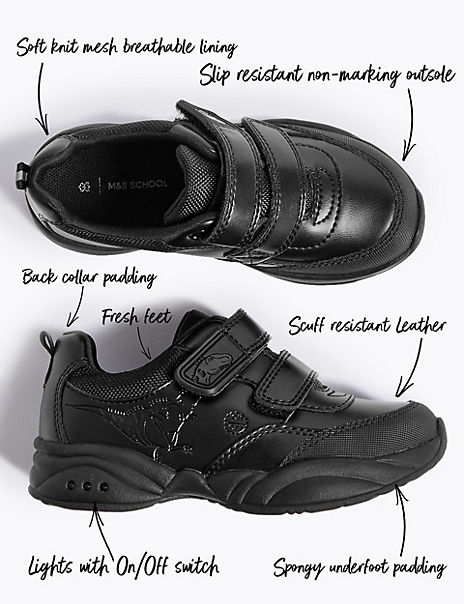 Kids' Leather Flashing Lights School Shoes (8 Small - 1 Large)