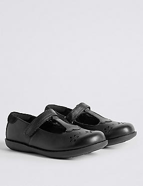 Kids' Freshfeet™ Leather T-Bar Shoes with Silver Technology