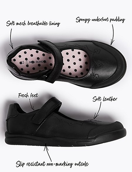 Kids' Leather School Shoes with Freshfeet™ (8 Small - 1 Large)