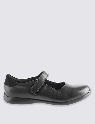 Marks and Spencer Extra Wide Leather Shoes with Freshfeet black