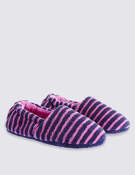 Kids' Stripy Pull On Slippers