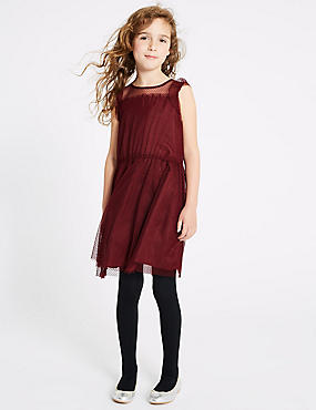 Frill Sleeve Dress (3-16 Years), BERRY, catlanding