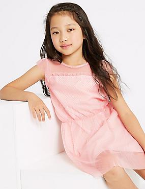 Frill Sleeve Dress (3-16 Years), PALE PINK, catlanding