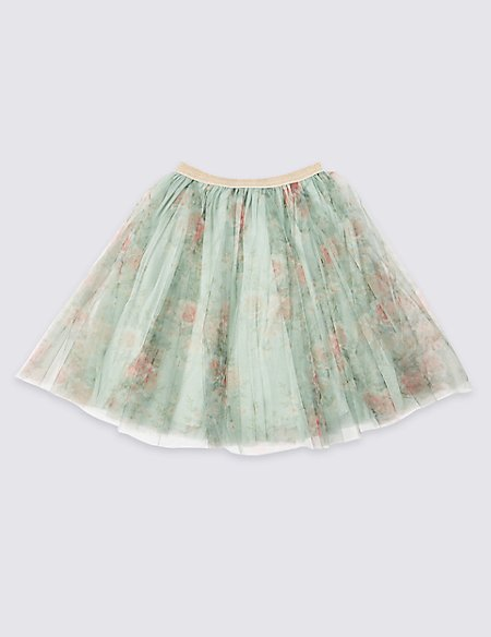 Mint Floral Tutu Skirt (3-16 Years)