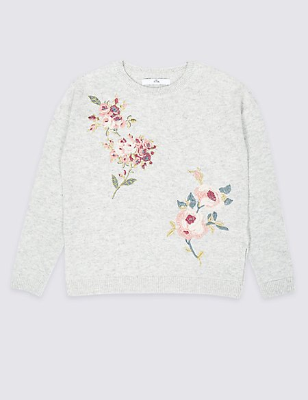 Floral Embroidered Jumper (3-16 Years)