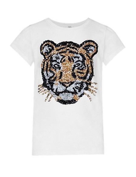 Cotton Rich Tiger Face Print Girls T-Shirt (5-14 Years)