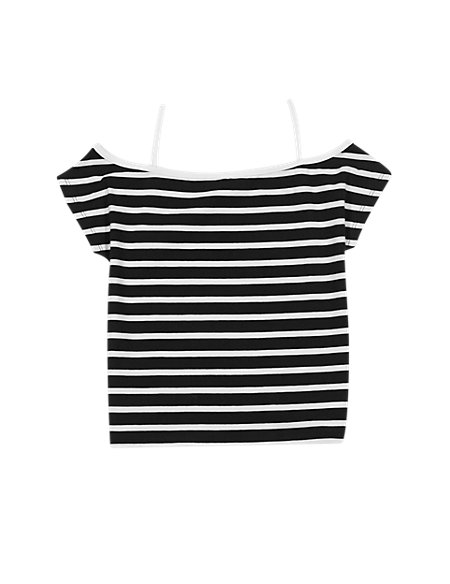 Cotton Rich Bardot Striped T-Shirt (5-14 Years)