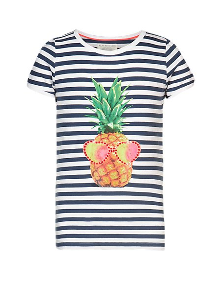 Pure Cotton Pineapple Print Striped Girls T-Shirt (5-14 Years)