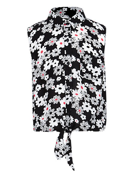 Tie Front Floral Girls Blouse (5-14 Years)
