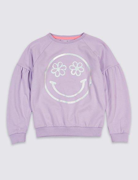 Smile Face Print Sweatshirt (3-16 Years)