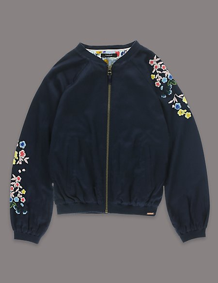Louise Wilkinson Floral Embroidered Bomber Jacket (5-14 Years)
