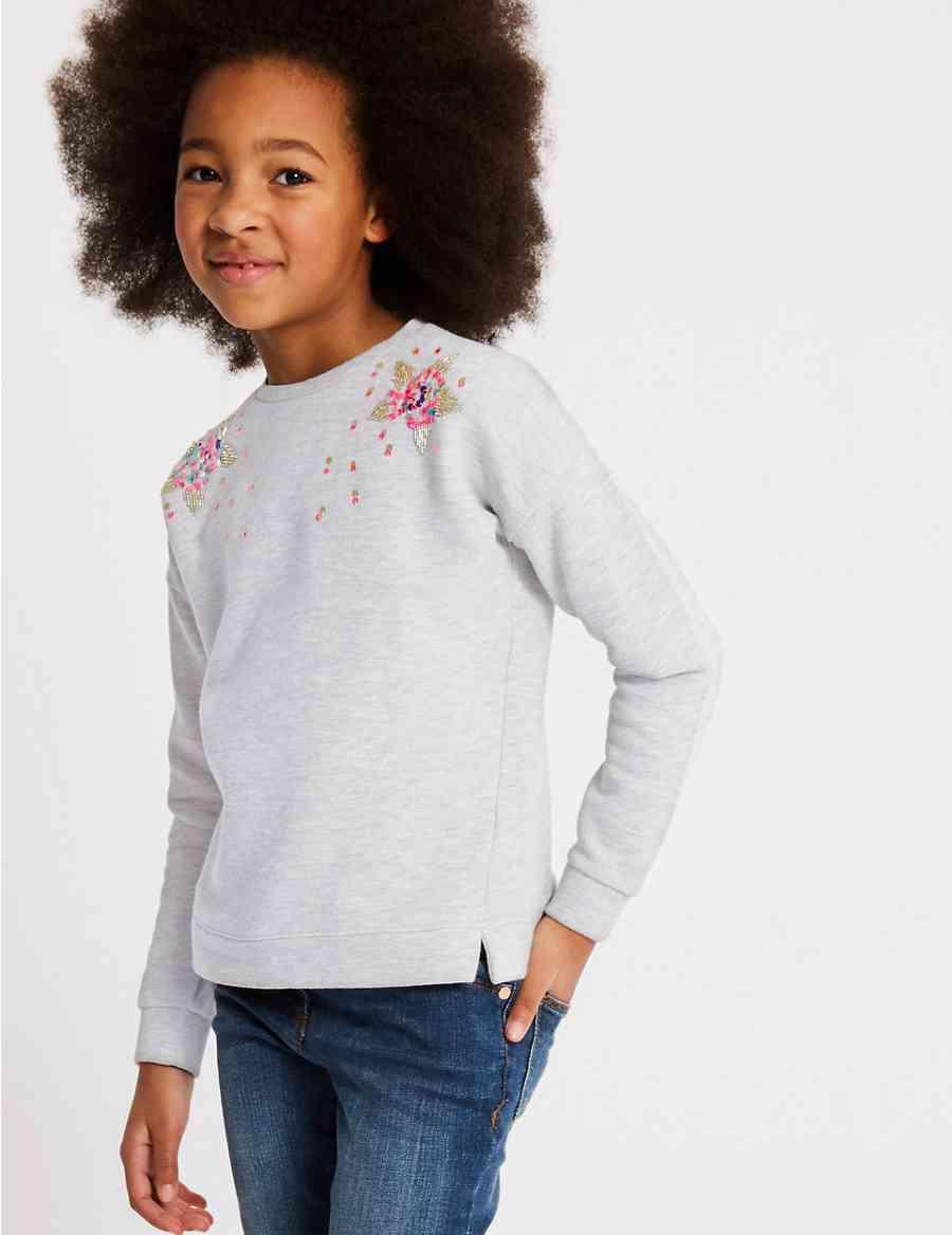 420722b4 Cotton Rich Sequin Sweatshirt (3-16 Years)   M&S