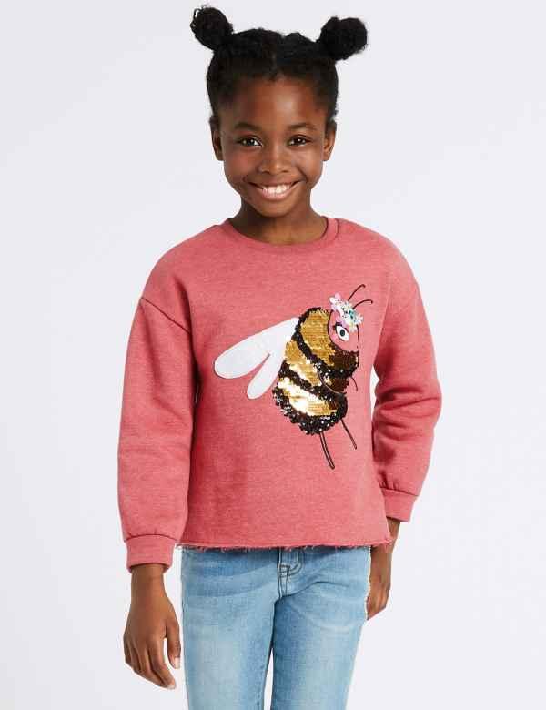 97fa189951a Cotton Rich Bee Sequin Sweatshirt (3-16 Years)