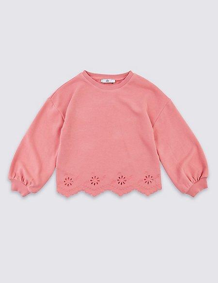 Cotton Rich Broderie Sweatshirt (3-16 Years)