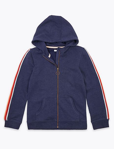 Cotton Rich Side Stripe Zip Through Hoodie (6-16 Years)