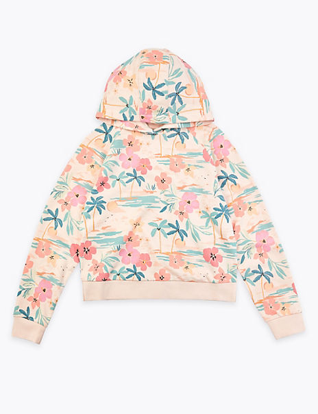 Pure Cotton Floral Hooded Sweatshirt (6-16 Years)