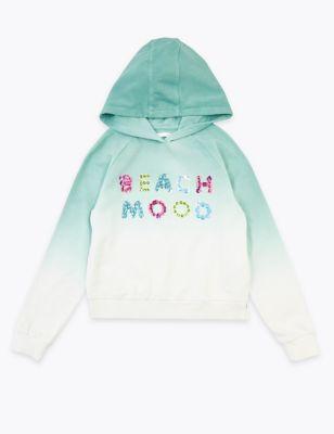 Sequin Beach Mood Slogan Sweatshirt (6-16 Yrs)