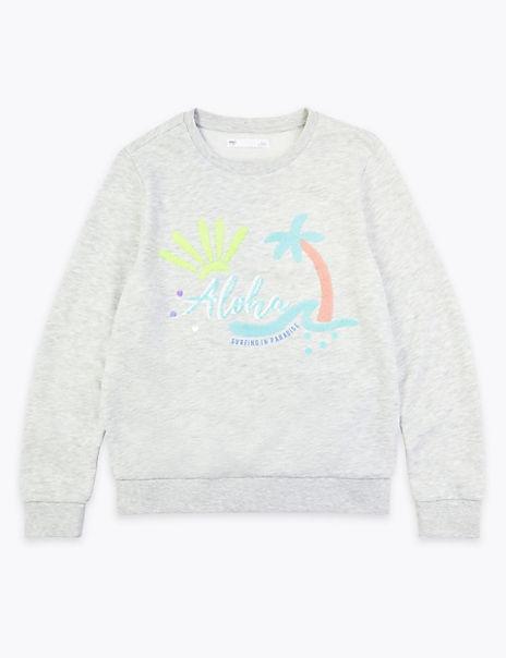 Cotton Rich Aloha Slogan Sequin Sweatshirt (6-16 Yrs)
