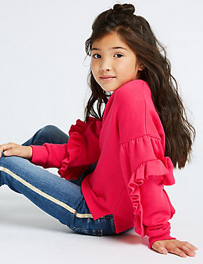 Cotton Rich Ruffle Sweatshirt (3-16 Years)