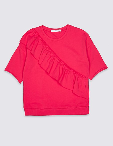 Pure Cotton Cross Frill Sweatshirt (3-16 Years)