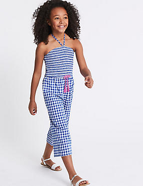 Gingham Pure Cotton Jumpsuit (3-16 Years)