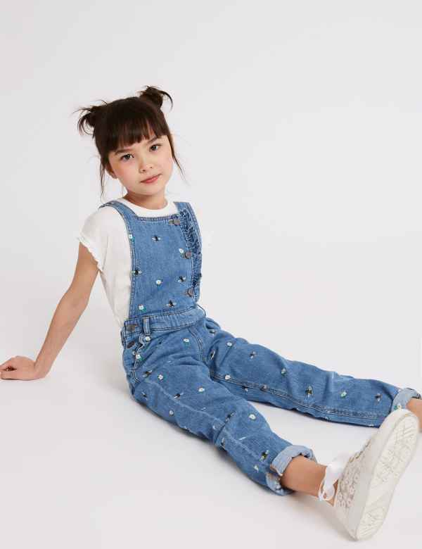 e91c79cbf83 Cotton Rich Embroidered Denim Dungarees (3-16 Years)