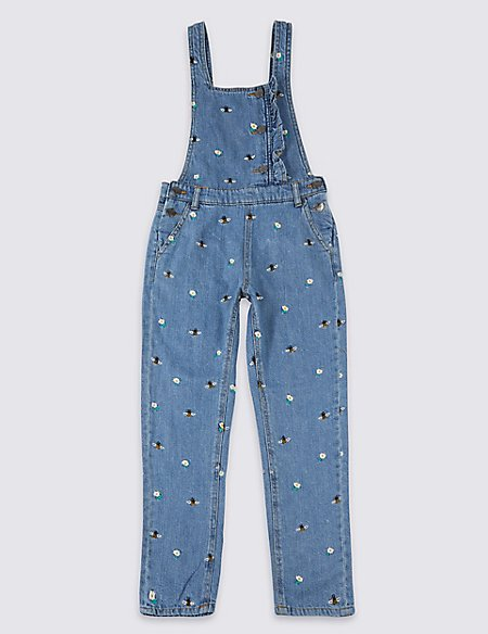 Cotton Rich Embroidered Denim Dungarees (3-16 Years)