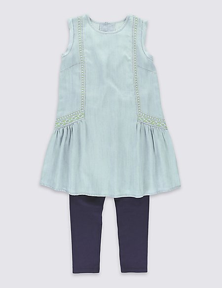2 Piece Embroidered Dress & Leggings Outfit (5-14 Years)