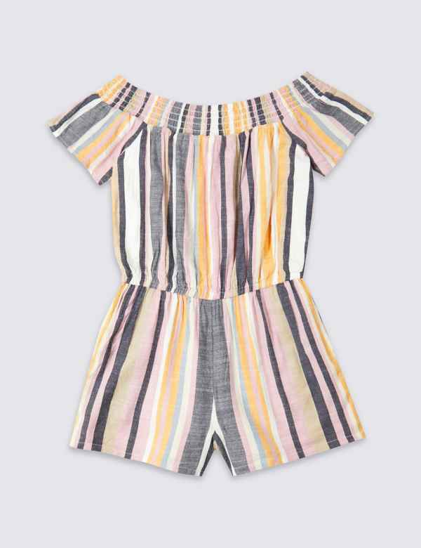 bf0b67a32d7 Cotton Blend Striped Playsuit (3-16 Years)