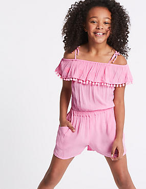Pom-pom Ruffle Playsuit (3-16 Years)