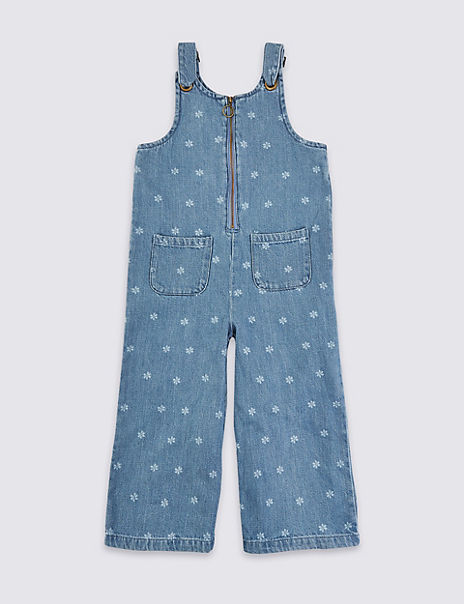 Denim Daisy Print Zip Jumpsuit (3-16 Years)