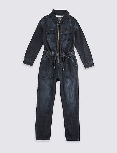 Denim Zip Front Boilersuit (3-16 Years)