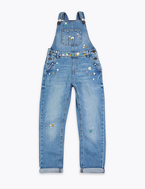 Denim Floral Embroidered Dungarees (6-16 Years)