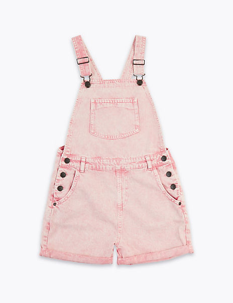 Pure Cotton Short Dungarees (6-16 Years)