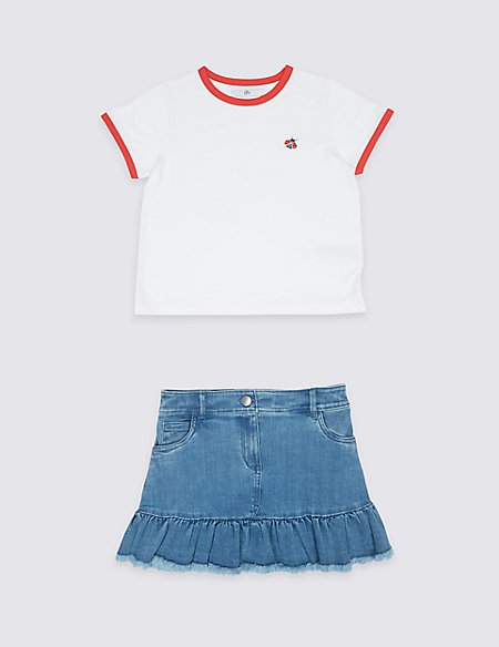 2 Piece T-Shirt & Skirt with StayNEW™ (3-16 Years)