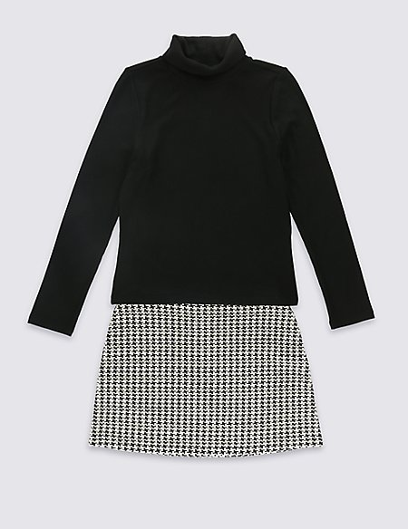 Cotton Blend Dogtooth Checked Skirt Outfit (5-14 Years)