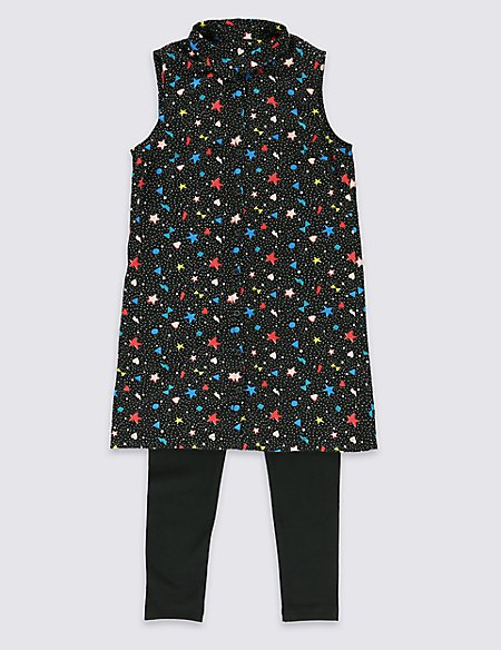 2 Piece Star Print Tunic & Leggings Outfit (5-14 Years)