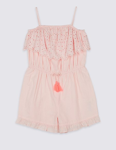 Ruffle Pure Cotton Playsuit (3-16 Years)