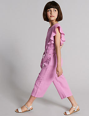 Frill Sleeve Jumpsuit with Belt (3-16 Years)