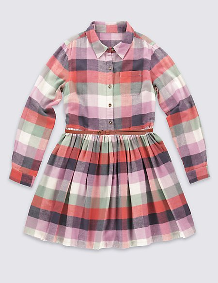 Pure Cotton Checked Dress (5-14 Years)