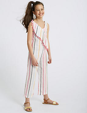 Striped Pure Cotton Jumpsuit (3-16 Years)
