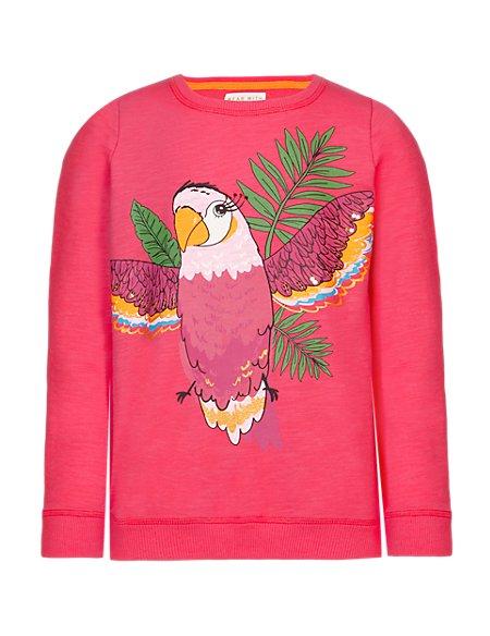 Cotton Rich Parrot Print Sweat Top