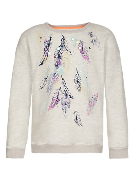 Feather Print Sweat Top