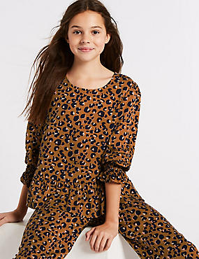 Animal Print Shirred Top (3-16 Years), MULTI, catlanding