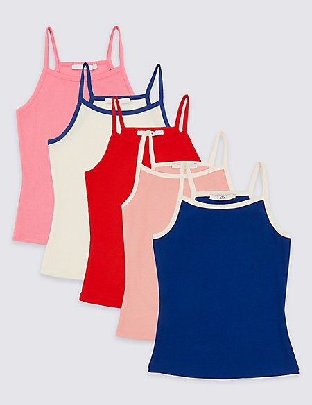 5 Pack Cotton Vest Tops with Stretch (3-16 Years)
